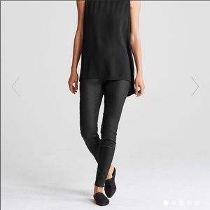 Eileen Fisher Black Waxed Skinny Pants SZ 6